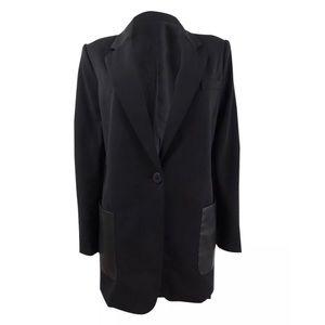 DKNY Womens Faux Leather Trim One-Button Blazer